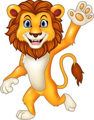 Наклейка Мультфильм смешной лев завивка