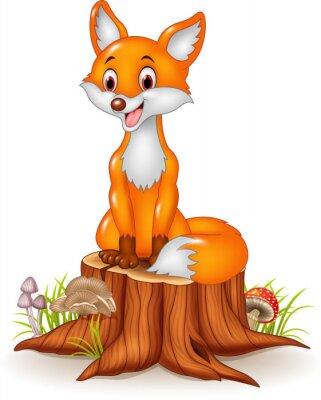Наклейка Мультфильм счастливым лиса сидит на пне