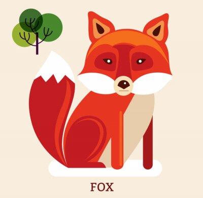 Наклейка Мультфильм иллюстрация с милой лисы