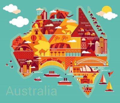 Наклейка Мультфильм карта Австралии