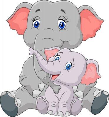 Наклейка Мультфильм мать и ребенок слон сидит на белом фоне