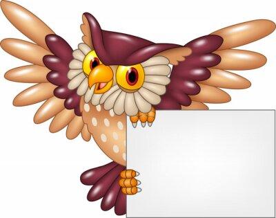 Наклейка Мультфильм сова птица летающая проведение пустой знак