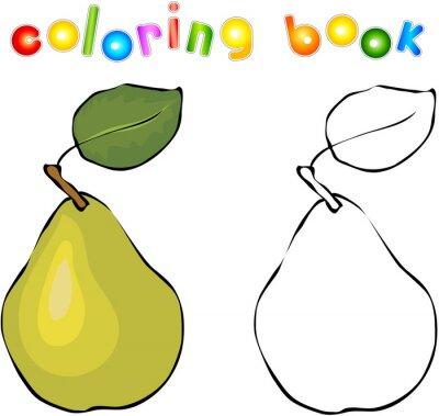 Наклейка Мультфильм груша книжка-раскраска