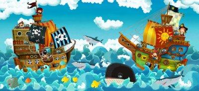 Наклейка cartoon scene with pirates on the sea battle - illustration for the children