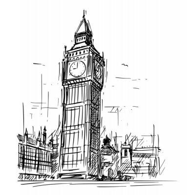 Наклейка Мультфильм рисунок эскиз иллюстрации Вестминстерский дворец, Биг Бен Элизабет часы башни в Лондоне, Англия, Соединенное Королевство.