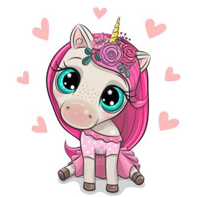 Наклейка Cartoon Unicorn girl with Hearts on a white background