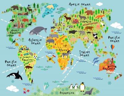 Наклейка карта мира мультфильм