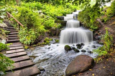 Наклейка Каскад водопад в Плантен ун Бломен парке в Гамбурге