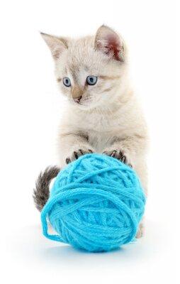 Наклейка Кошка с клубка