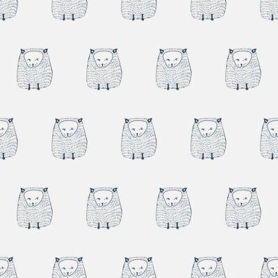 Наклейка Кошки бесшовные модели. Животный фон. Векторная иллюстрация