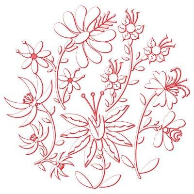 Наклейка Празднование Дня народного и вышивка аппликация вдохновлен восточной европейской культуры круглой формы белого цвета с цветочными элементами с красным инсультом с 3D-эффектом