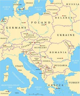 Наклейка Central Europe Political Map