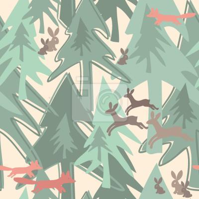 Наклейка Изменение сезона в лесу