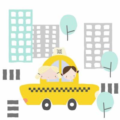Наклейка Веселые подружки в такси до города. Детская графика. Вектор рисованной иллюстрации.