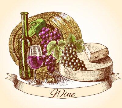 Наклейка Сыр вино и хлеб фон