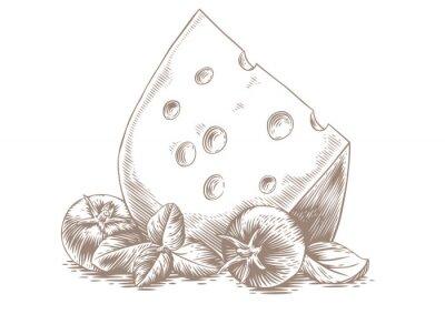 Наклейка Сыр с овощами