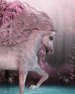 Наклейка Cherry Blossom Unicorn - Единорог лошадь является мифическое существо с рогом на его лбу и раздвоенными копытами и живет в волшебном лесу.