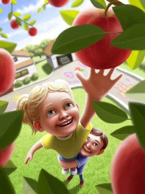 Наклейка Дети, достигающие для яблока