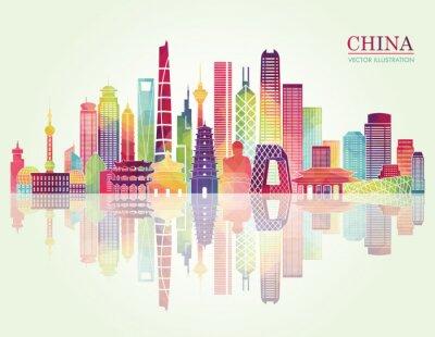 Наклейка Китай горизонта подробно силуэт. Векторная иллюстрация