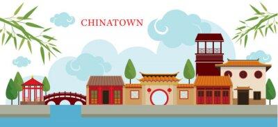 Наклейка Китайский квартал Здание и парк, путешествия, город, Традиционная культура