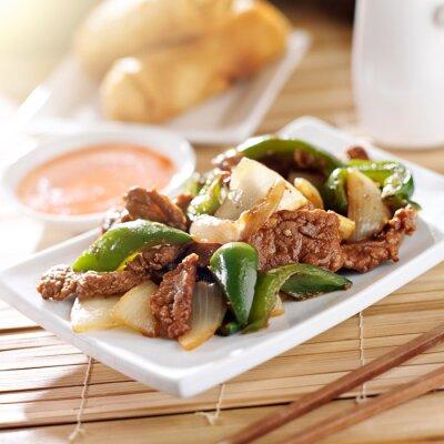 Наклейка Китайская кухня - перец говядина в ресторане