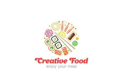 Наклейка Китайский Японский суши Сашими из морепродуктов Дизайн логотипа.