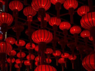 Наклейка Китайские фонарики, китайский Новый год.
