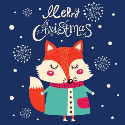 Наклейка Рождественская открытка с милой