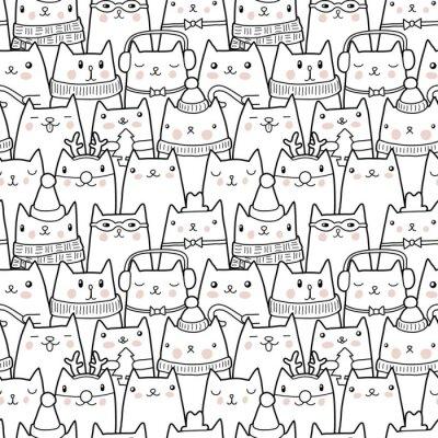 Наклейка Рождественские кошки бесшовные модели