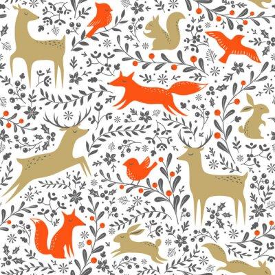Наклейка Рождество цветочный полесье животных бесшовные модели на белом фоне