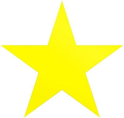Наклейка Рождественская звезда желтый - простая 5-очковая звезда - изолированные на белом