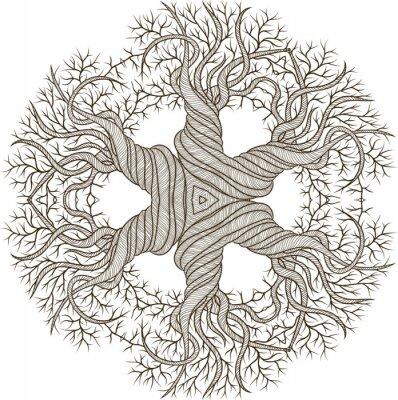 Наклейка Циркуляр орнамент из абстрактного дерева с керлинг баррель.