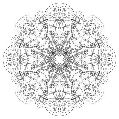 Наклейка Круговой узор с птицами и цветами в стиле Doodle