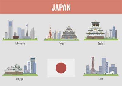Наклейка Города в Японии