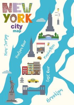Наклейка Карта города Манхэттен Нью-Йорка