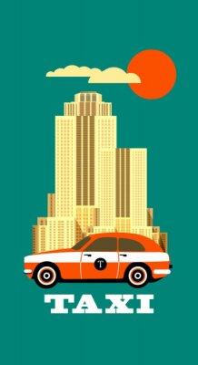 Наклейка Город такси плакат