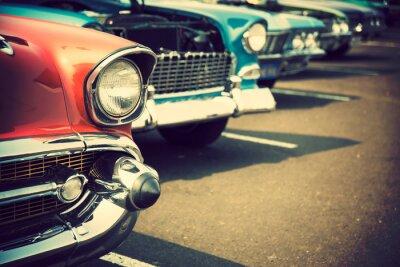 Наклейка Классические автомобили в ряд