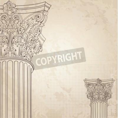 Наклейка Классические колонны бесшовного фона. Римская колонна коринфского. Иллюстрация onold бумаги фон для дизайна эскиз