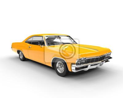 Наклейка Классический мышц желтый автомобиль - освещение студии выстрел