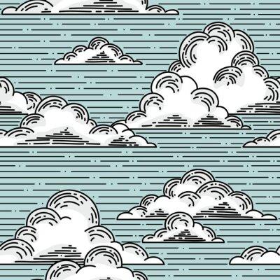 Наклейка Облака бесшовные модели ручной тяге иллюстрации. Вектор фон