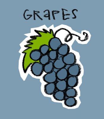Наклейка Грозди винограда на синем фоне