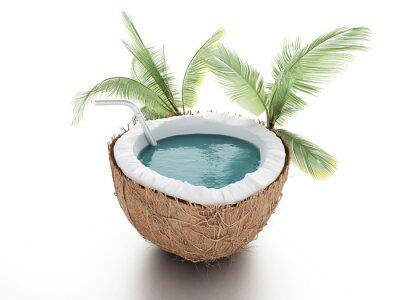 Наклейка кокосовое рай. лето концепция на белом фоне