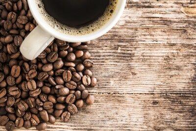 Наклейка Чашка кофе и фасоли на деревянный стол