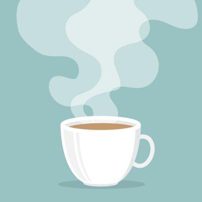 Наклейка Чашка кофе с дымом всплывают