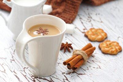 Наклейка Кофе латте и шоколадные печенья