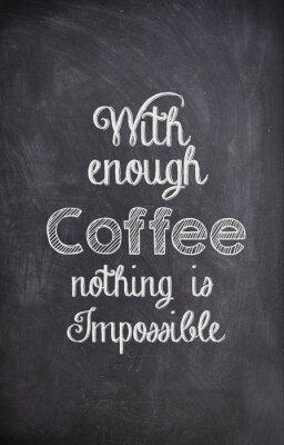 Наклейка Кофе Quote написано мелом на черной доске
