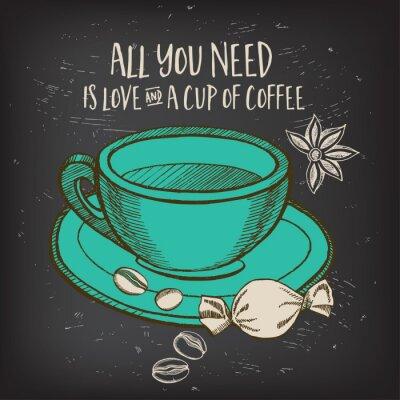 Наклейка Кофе меню ресторана кафе, дизайн шаблона.