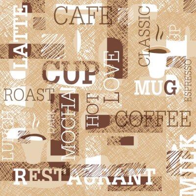 Наклейка Кофе Тематические Бесшовные шаблон. Слова, чашки кофе и творческие рисунки. Бежевый и коричневый цвет. Абстрактный фон для дизайна кафе или ресторана.