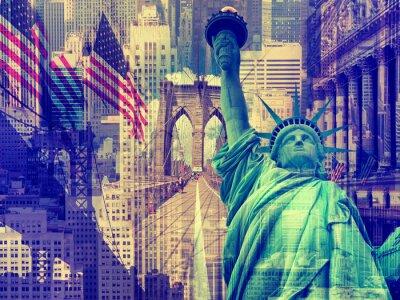 Наклейка Коллаж, содержащий несколько достопримечательностей Нью-Йорк
