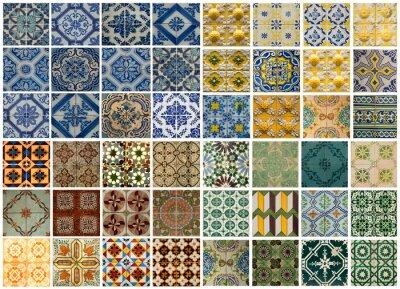 Наклейка Коллаж из различных цветных узор плитки в Португалии